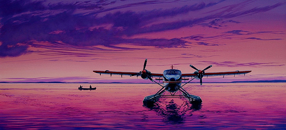 wardair twin otter drifting on great slave lake nt by
